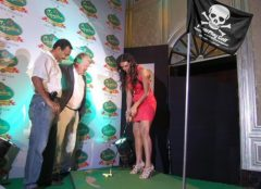 Indian model and actress Neha Dhupia at the launch of the Signature Club Golf Championship
