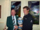 Lee Westwood presenting the trophy to Eddy Edwards