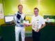 Stuart Wilson receiving his award from Clint Anderson, Head of Membership Services, Foremost Golf.