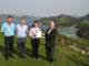 Kau Sai Chau management team receives the GEO Certified™ award. (Left to right:) Cameron Halliday, General Manager; Mike Carey, Head of Golf Operations; Christine Chan, Superintendent; Benjamin Warren, GEO Communications Director