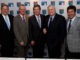 (L-r) Jack Peter, World Golf Hall of Fame Chief Operating Officer, Sandy Lyle, George O'Grady, Chief Executive of The European Tour and Chairman of the World Golf Foundation, Peter Alliss and 2012 Ryder Cup Captain, Jose Maria Olazabal