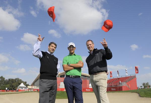 ((l - r) Chris White, General Manager – Yas Links / Aldar Golf, Golf in Abu Dhabi Ambassador, Matteo Manassero and Chris Card, Group General Manger - Abu Dhabi Golf Club & Saadiyat Beach Golf Club