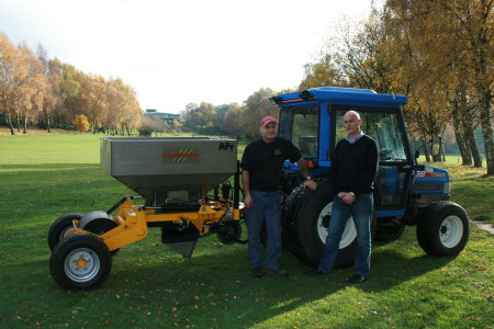 Tony Lee Course Manager at Aspley Guise and Woburn Sands Golf Club with Peter Smith (right)AFT Trenchers