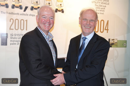 Marc Dufour, President and CEO of Club Car (left) and PGA chief executive Sandy Jones