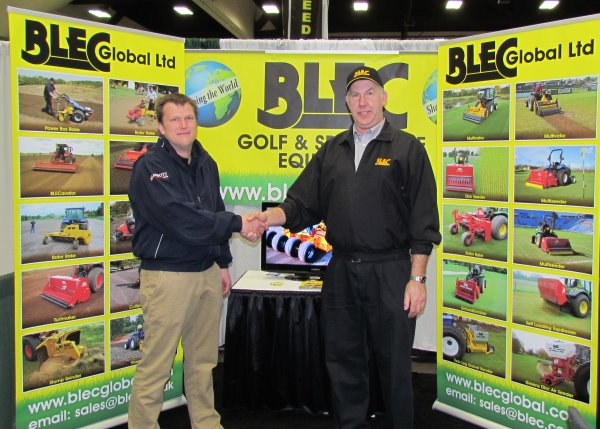 Adrian Abbott of MJ Abbott (left) and Gary Mumby of BLEC on the San Diego stand