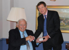 Dave Thomas is awarded Honorary Life Membership of The European Tour by Chief Executive George O'Grady