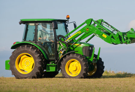 John Deere 5075E tractor with cab