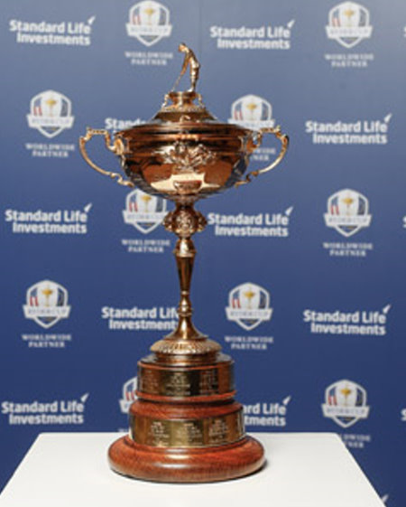 Ryder Cup Trophy with Standard Life backdrop