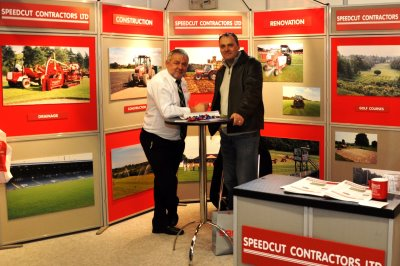 Dick Franklin, md of Speedcut, and David Whybrew, course manager at Foxhills Golf Club and Resort, Surrey, at BTME 2013