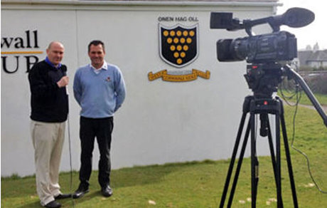 Simon Wood, Cornwall county golf development officer (left), interviews Jason Broadway, head professional at West Cornwall Golf Club