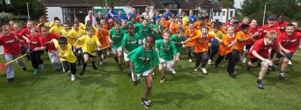 Charge! School children take part in the Golf Foundation's HSBC Golf Roots programme.