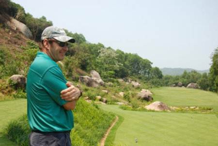 Sir Nick Faldo at the par-3 11th hole, his favourite on the new Laguna Lang Co course