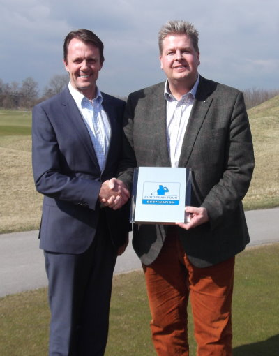 David MacLaren, The European Tour's Director of Property and Venue Development, and Land Fleesensee Managing Director Thomas Döbber-Rüther announce Golf & Country Club Fleesensee in Germany as the sixth European Tour Destination during the European Tour Properties Spring Conference at The Dutch