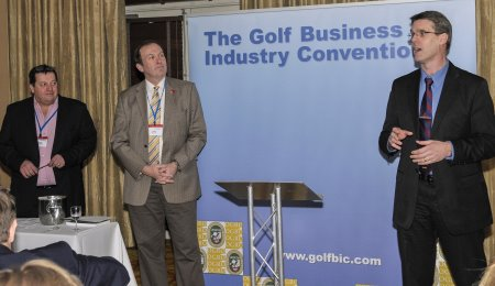Mike Round, Chief Executive of the Golf Foundation, thanks the GolfBIC delegates for their fundraising at the charity dinner, with 'auctioneers' Colin Jenkins, Chairman OGRO, (left) and Jerry Kilby, outgoing Executive Director UKGCOA.