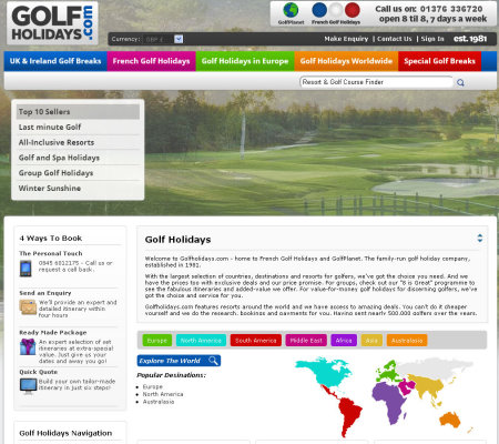 Golfholidays website