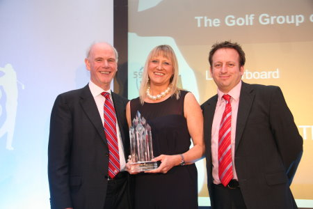 Sandy Jones, Chief Executive of the PGA & Simon Wordsworth 59Club CEO presents Alison Ainsworth, Senior Director of Golf, Leisure & Spa Operations Europe for Marriott Hotels with the 'Golf Group of the Year' award