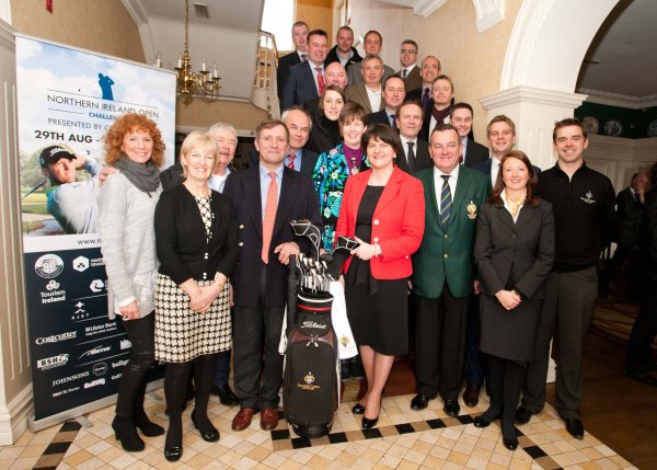 (Top to Bottom; Left to Right) Richard Stratton (Alpha Newspaper Group), Aaron Klewcheuk (Ballyprint.com), Jonathan Verner (Costcutter), Paul Thompson (Just Treats Golf), John Shortt (Golf Digest Ireland), Brian Hood (BS Holdings), Ian Fitzpatrick (Blackstar Sports), Neil Cooke (Ulster Bank), Rebecca Laird (Laird Grass Machinery), John McMahon (Johnsons Law), Draven McConville (Gravity), Kitty Crawford (XJET), Morris Crawford (XJET), Melvyn Ennis (Clannah Natural Energy), Lisa Robinson (Causeway Coast & Glens), Aidan Donnelly (Ballymena Borough Council). Paul Frew MLA, Mark Aspland (European Tour), Alison Beggs (Lady Captain, Galgorm Castle), Christopher Brooke (Galgorm Castle), Tourism Minister Arlene Foster MLA, Ivan McCappin (Captain, Galgorm Castle), Beth Swindlehurst (Galgorm Resort & Spa), Gareth Shaw (Galgorm Castle's Touring Professional