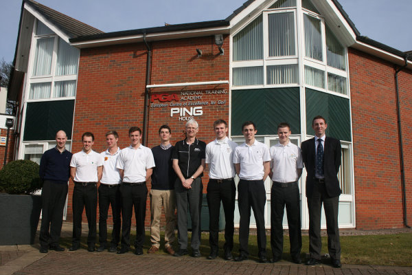 Edgbaston Golf Club head pro David Fulcher (left) with PGA business skills development manager Gary Jackson (centre) and first year AGMS students.