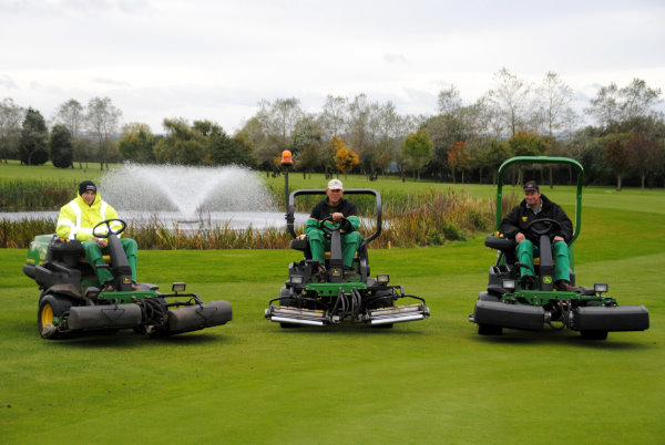 Ombersley Golf Club's full complement of John Deere 2500 series triplex greens mowers: (left to right) Luke Roberts on the 2500, Bill Oakey on the 2500A and Andrew Halfpenny on the 2500E
