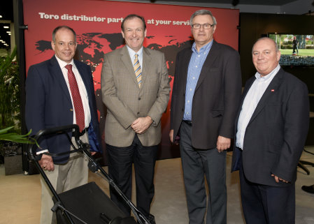 Jerry Kilby, second left, with, from left, Jeff Anguige, Graham Dale and Peter Mansfield representing Toro and Lely.