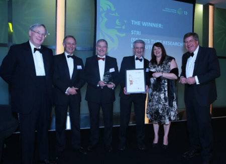 (from left): HRH The Duke of Gloucester, President – British Expertise, Mike Blackburn, Chairman – British Expertise & Group Manager – Mott MacDonald (sponsor of award), Andy Cole, Head of Consultancy – STRI, Gordon McKillop, CEO – STRI, Carolyn Beadsmoore, Head of Sales & Marketing – STRI, Edward Stourton, Presenter – BBC Radio Four.
