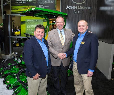 (left to right): Howard Storey, John Deere Golf product marketing manager, Europe & Middle East; Jerry Kilby, executive director, UKGCOA; and John Deere Limited UK & Ireland turf division sales manager Joedy Ibbotson