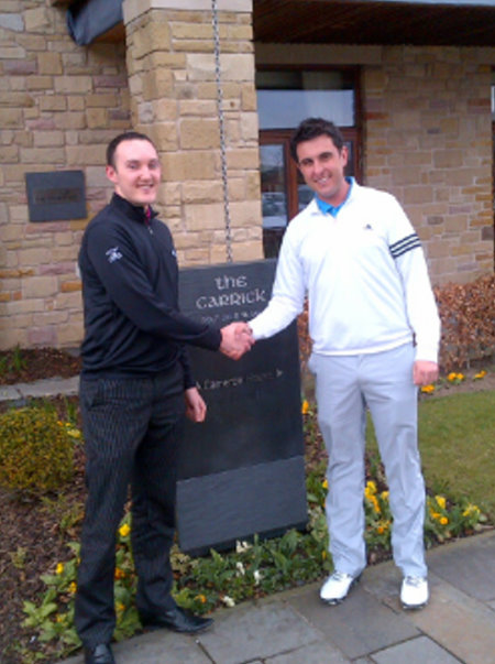 Andrew McIntyre with Gavin Abson, Head PGA Golf Professional, The Carrick on Loch Lomond