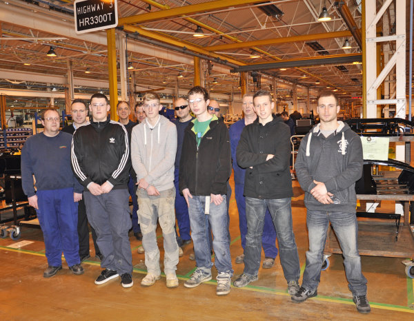 (l-r) New apprentices Daniel Phelps, Dean Manning, Alex Rae, Joe Tynan and Louis Barrett with their mentors on their first day at Ransomes Jacobsen