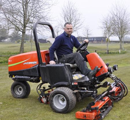 Steve Lloyd with a Jacobsen TR3 mower at Burghilll Valley Golf Club