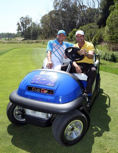 Victorious 2012 European Ryder Cup Team captain, José María Olazábal, is joined by his friend and European team member, Sergio Garcia, to reunite with his unique, fully signed Captain's Car.