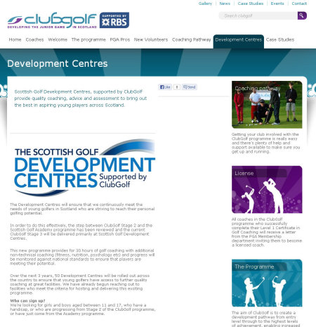 ClubGolf Scotland Develoment Centres page
