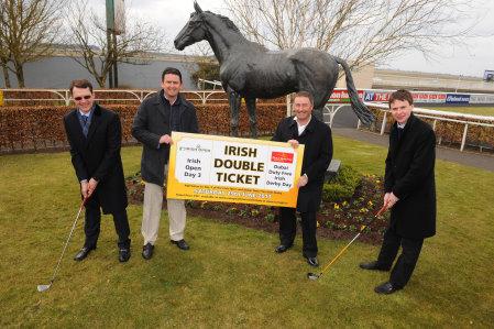 (L-R): Champion Irish trainer Aidan O'Brien, European Tour Champions Peter Lawrie and Damien McGrane and Aidan's Derby-winning son, jockey Joseph O'Brien
