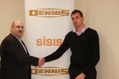 Dennis and SISIS Customer Manager Roger Moore (left) announces a new strategic partnership with Fusion Media's Managing Director Christopher Bassett