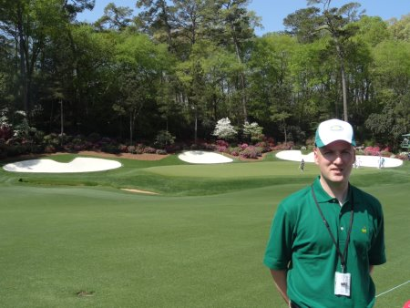Gavin is pictured on Amen Corner, with the 13th green in the background