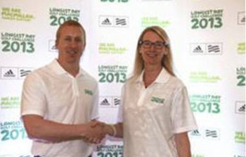 Greg Pearse pictured below with Lynda Thomas, Director of fundraising – Macmillan Cancer Support