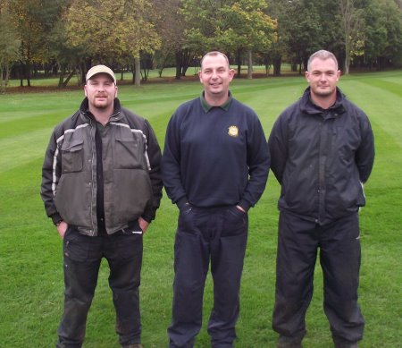 (l-r) Assistant Greenkeeper Daniel Lipscombe, Course Manager Kevin Day, and Deputy Head Greenkeeper Dave Bates are delighted with the condition of the fairways at Hersham Golf Club