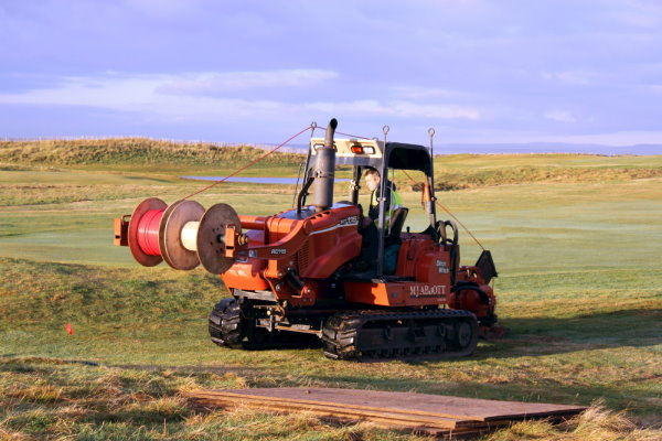 MJ Abbott's contract team moling-in a new irrigation mainline at Royal Porthcawl Golf Club, south Wales.