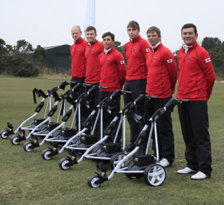 The England Elite at Ganton GC receiving their PK SPORT trolleys