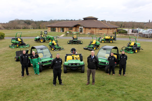 (Centre left and right) The Bedford Golf Club's head greenkeeper Simon Trotter and dealer Martin Green of P Tuckwell Ltd, Maulden, with the new John Deere fleet and (left to right): Jamie Swain, head mechanic Richard Swain, Anthony Rizzi and Scott Cranny.