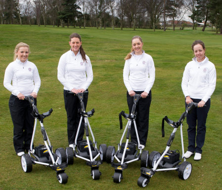 Members of England Golf's Ladies Performance Squad with their new Freeway SPORT trolleys