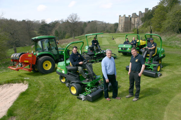 Brancepeth Castle Golf Club's management committee chairman Jim Murray and head greenkeeper Andrew Welsh (standing, left & right) with (seated, left to right) greens staff Michael Curry and Stephen Hagar, apprentice Matthew Craddock, mechanic Paul Simpson and deputy head greenkeeper Mark Brown, and the new John Deere machinery fleet.