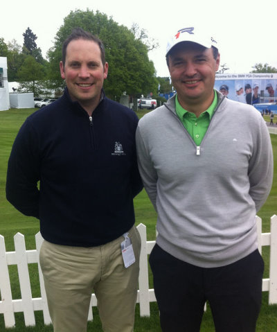 David Griffin, Brocket Hall Golf Club manager (left) with Simon Khan