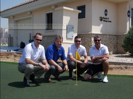 The Huxley Golf All-Weather Putting Green at The Els Club, Dubai. Pictured left to right is: Callum Nicoll – Operations Manager, Els Club; Richard White – Huxley Golf Installation Manager; David Gray – Managing Partner, DG Golf; Dave Cain – Managing Partner, DG Golf