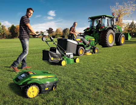 Today's John Deere lawn and turf product line-up includes the Tango autonomous mower and a comprehensive range of walk-behind lawnmowers and lawn tractors, as well as compact and large utility tractors and commercial golf and turf equipment.