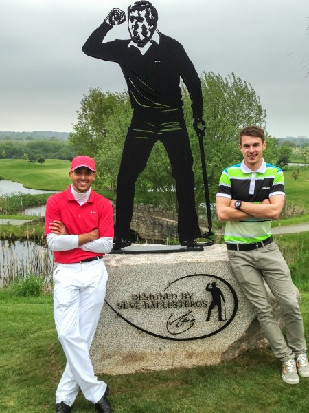 This stunning new life-size statue of Seve Ballesteros now greets all visitors to The Shire London…and two of the first people to see it were Arsenal internationals Theo Walcott and Aaron Ramsey