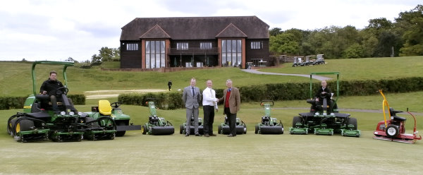 Caversham Heath Golf Club's new machinery with (from left to right): Jon Scoones (course manager), Martin Robinson (general  manager), Darren Jones (area sales manager for Farols who supplied the John Deere machines),  Mr Eyston (owner), Robert Wytchard (estate manager).