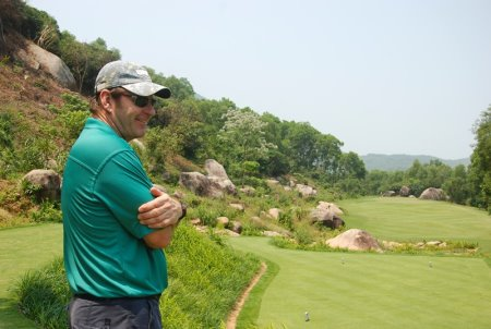 Sir Nick Faldo on the par-three 11th hole of Laguna Lăng Cô Golf Club during the official course opening in March 2013
