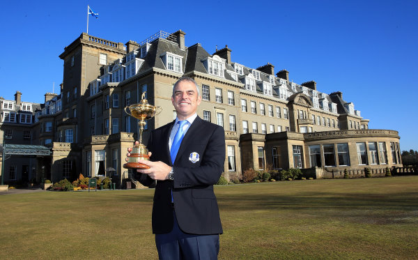 Ryder Cup Captain Paul McGinley outside the Gleneagles Hotel (©Getty Images)