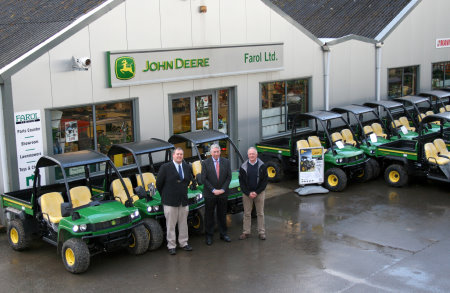 Morris Leslie (centre) with Farol managing director Matthew Vellacott and groundcare sales manager Peter Helps, alongside part of the new John Deere HPX Gator hire fleet.