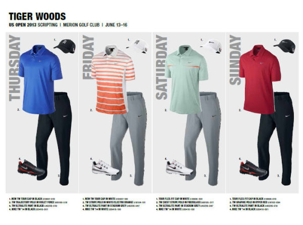 Nike Golf Tiger Woods daily outfits